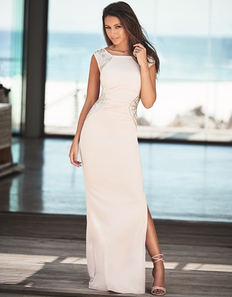 long nude maxi with sequin details by lipsy Michelle Keegan