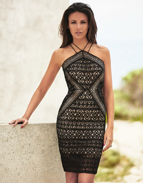 sexy black lace geometric print low back summer dress by lipsy Michelle Keegan