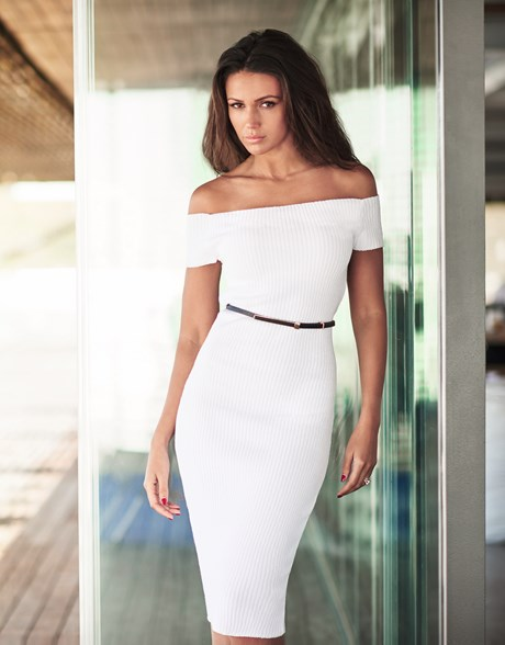 sexy white midi off the shoudler summer dress by lipsy Michelle Keegan