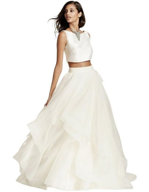 beautiful two piece summer wedding dress davids bridal