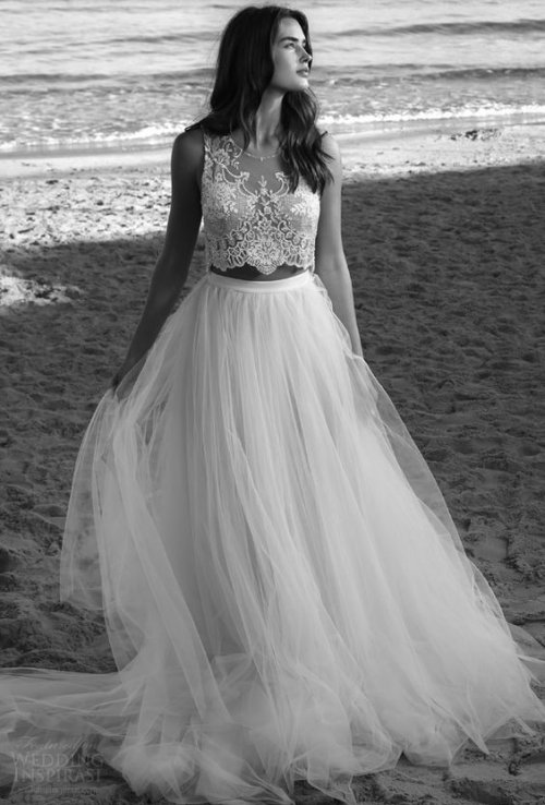 bohemian two piece summer wedding dress Lihi Hod