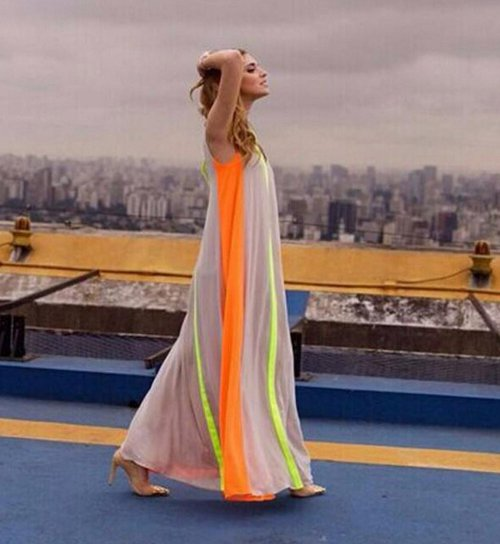 casual colorblock cheap maxi summer dress OURS
