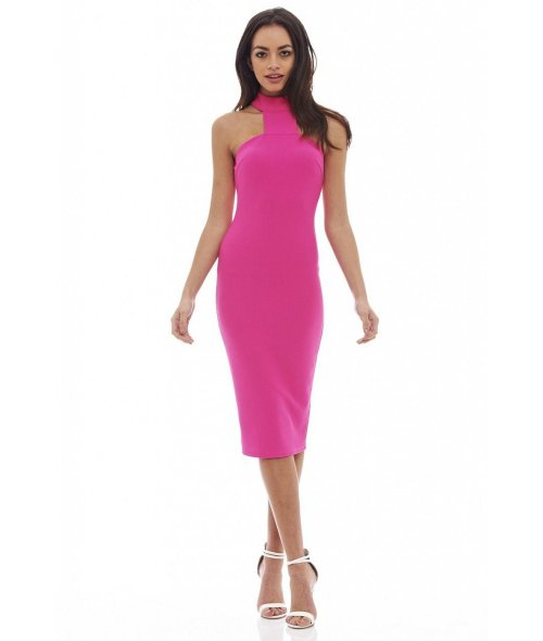 cheap hot pink midi summer cocktail dress cutouts high neck AxParis