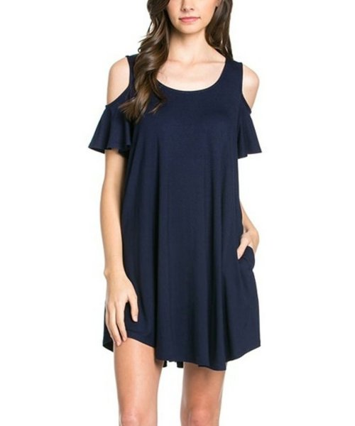 cheap navy blue off the shoulder sundress with pockets 12 Ami