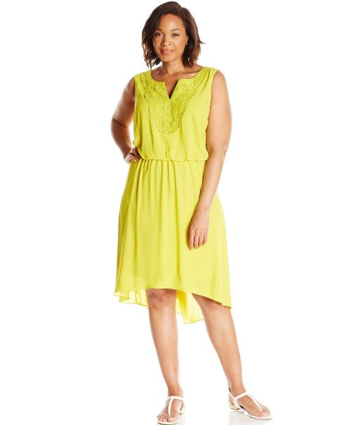 cheap plus size high low lime sundress London Times