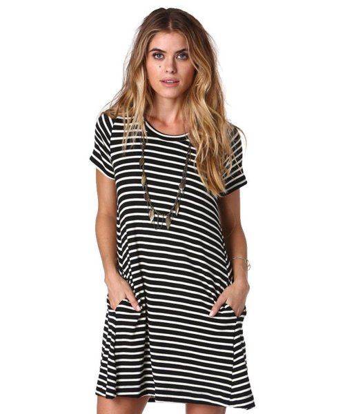 cheap stripe tshirt dress with pockets Merry Mou Store