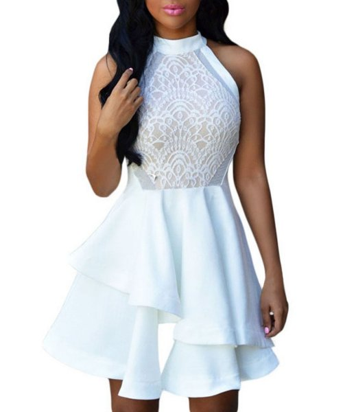 cheap white halter summer cocktail dress Chase Secret
