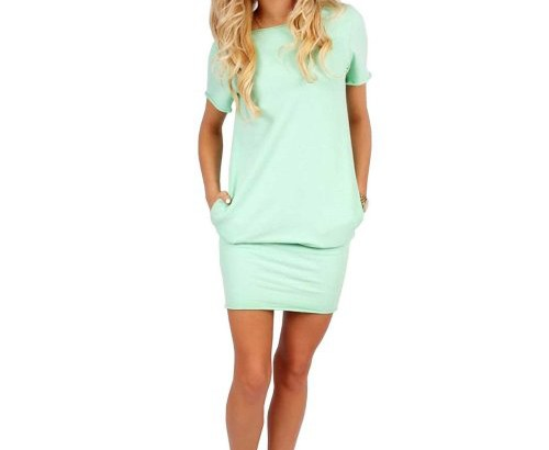 cute mint short sleeve tunic cheap summer dress ACEVOG
