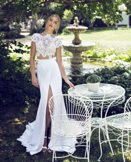 elegant two piece summer wedding dress with a slit