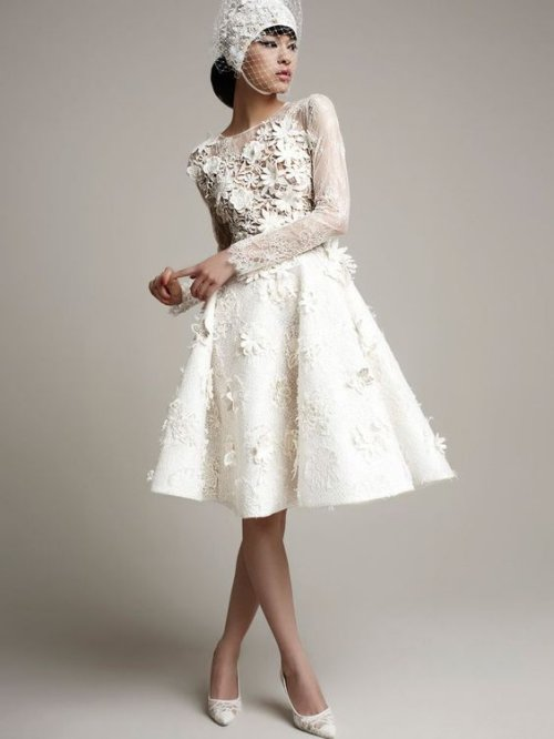 exotic long sleeve summer wedding dress floral applique