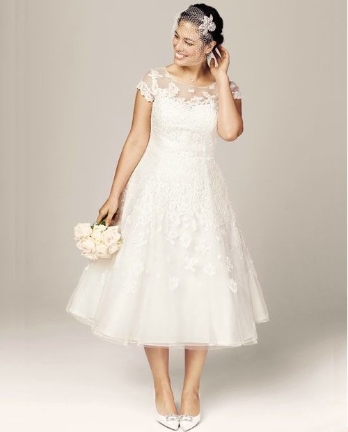 gorgeous short sleeve plus size summer wedding dress