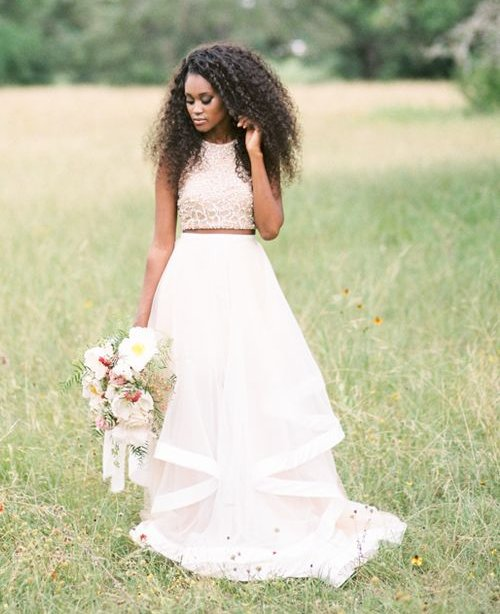 gorgeous two piece summer wedding gown