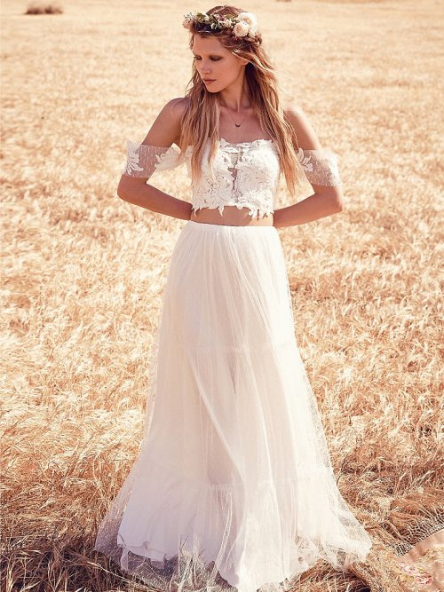 gorgeous two piece off the shoulder summer wedding dress Grace Loves Lace