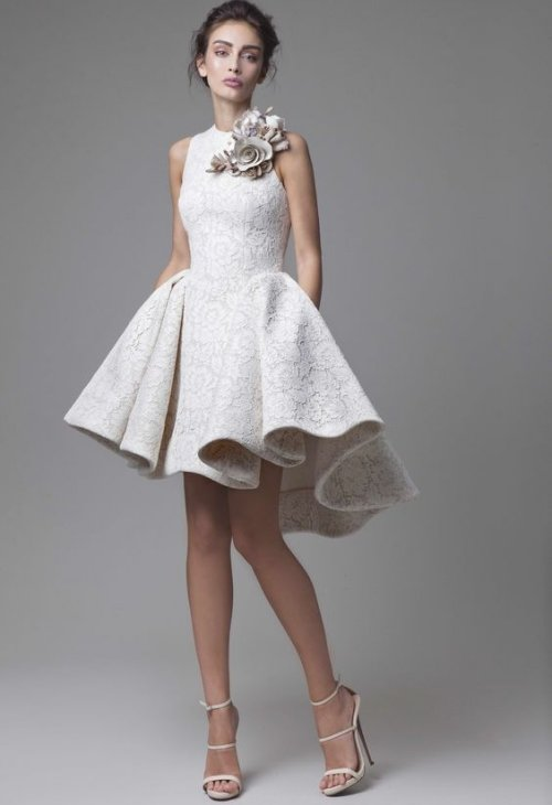 high neck summer wedding dress Krikor Jabotian
