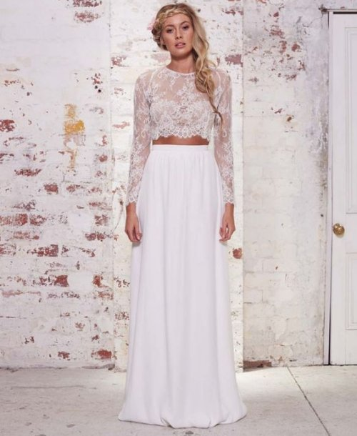 lace two piece long sleeve summer wedding dress Karen Willis