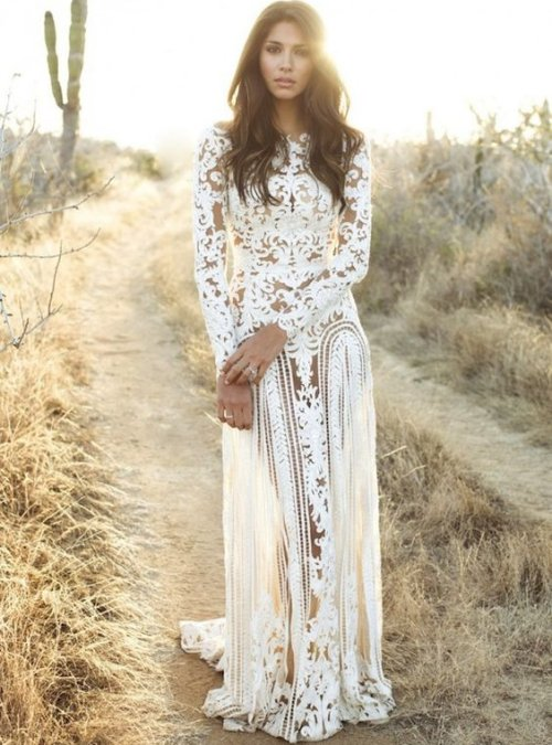 long sleeve lace boho chic summer wedding dress zuhair murad - Modern Summer Wedding Dresses