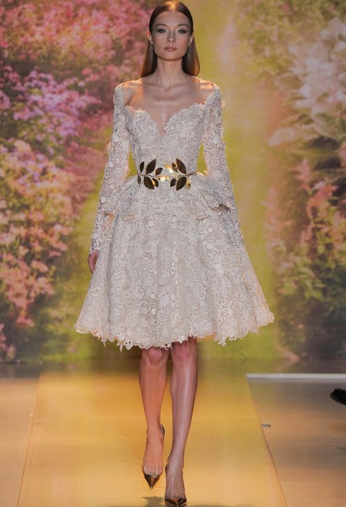 long sleeve short lace summer wedding dress Zuhair Murad14