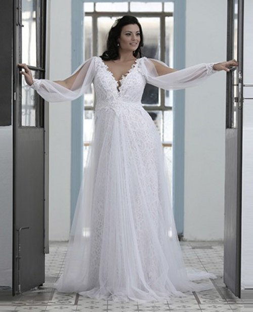 lovely sexy v-neck plus size summer wedding dress Studio Levana