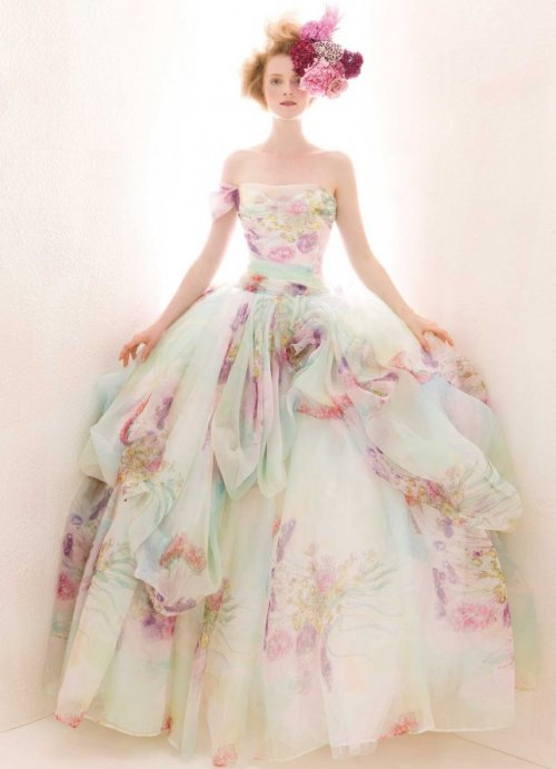 off the shoulder dreamy summer wedding ball gown with floral print Atelier Aimee