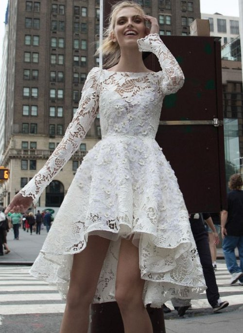 open back short lace summer wedding dress with long sleeves