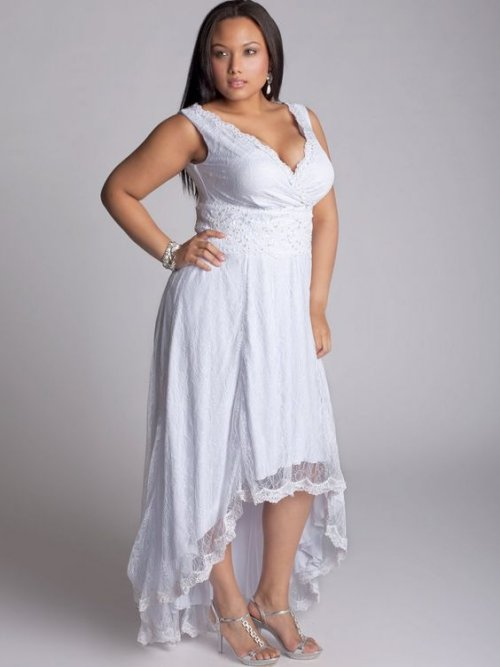 pretty high low plus size summer wedding dress