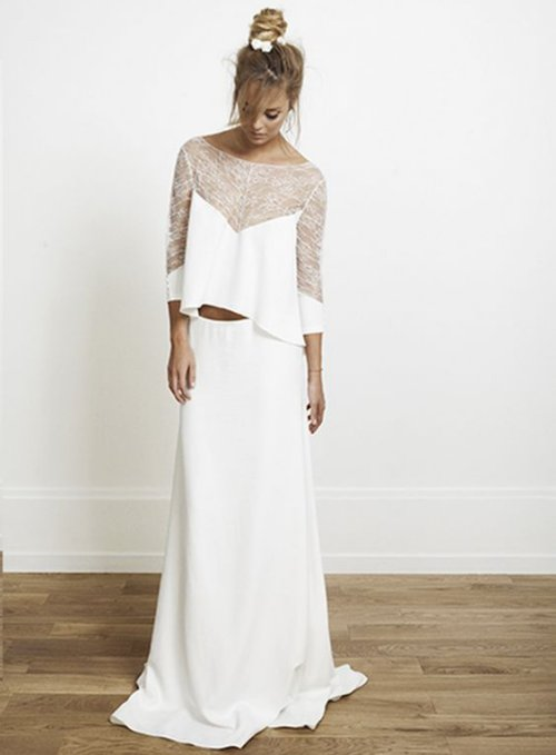 sexy long sleeve crop top two piece summer wedding dress Rime Arodaky