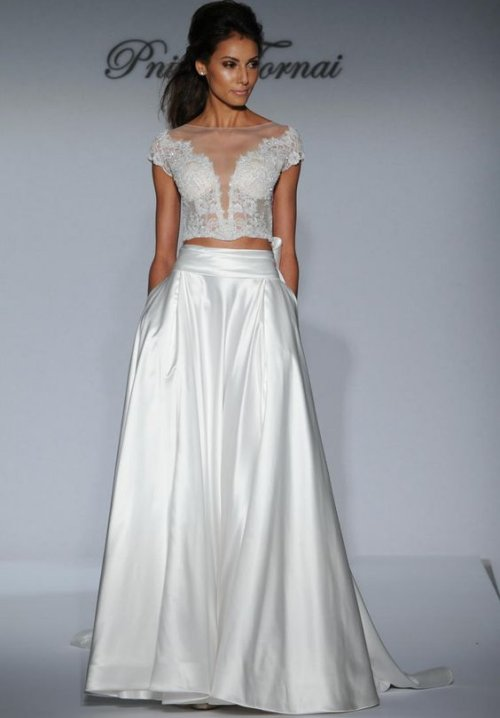 sexy two piece summer wedding dress Pnina Tornai with crystal top