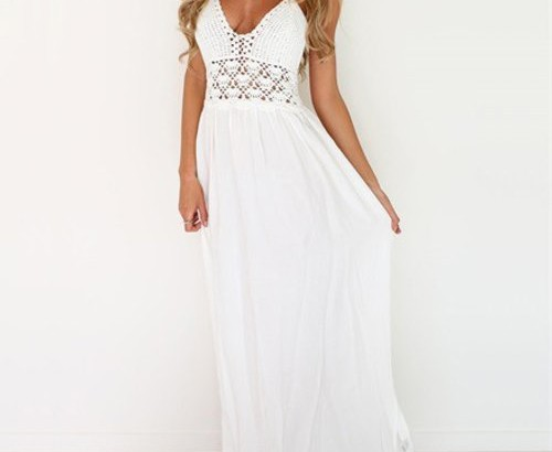 sexy white crochet cheap maxi summer dress Lilbetter