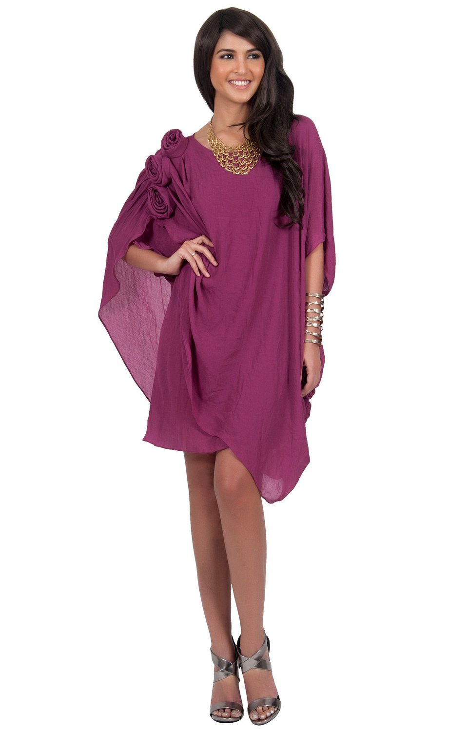 short cheap purple summer cocktail dress half sleeve Koh Koh