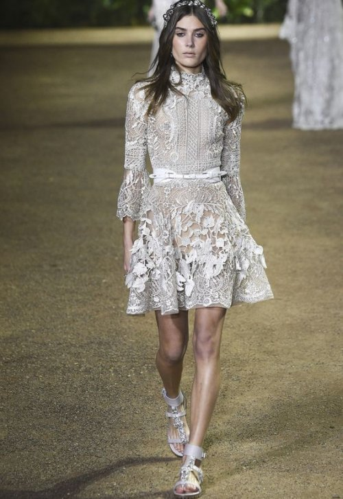 short long sleeve lace summer wedding dress Elie Saab