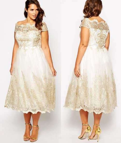 short plus size off the shoulder summer wedding dress