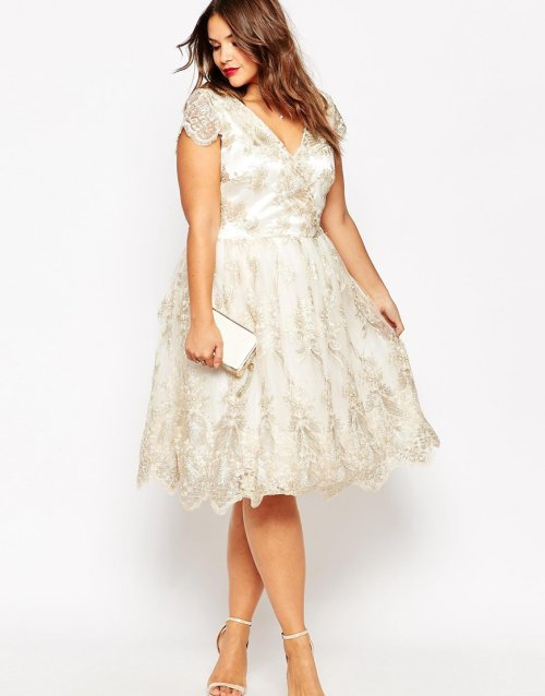 short sexy plus size summer wedding dress floral lace Chi Chi London