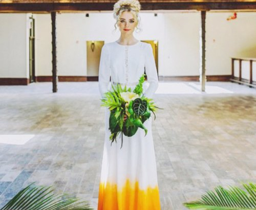 simple long sleeve summer wedding dress with orange trim