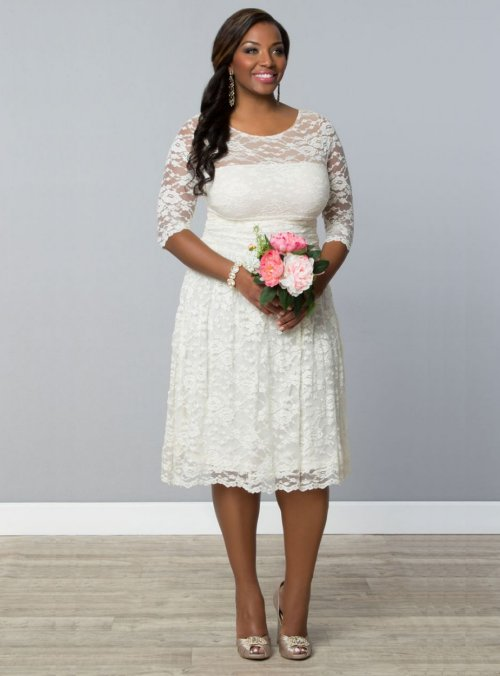 simplistic lace short plus size wedding dress kiyonna