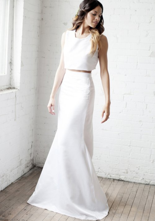 simplistic two piece summer wedding dress
