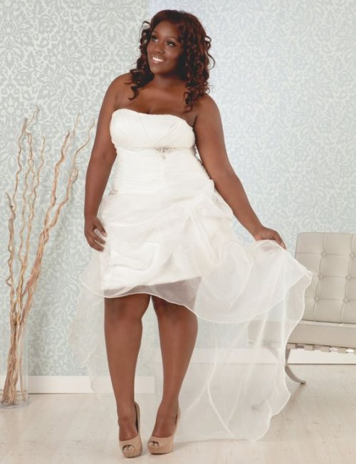 strapless short plus size summer wedding dress