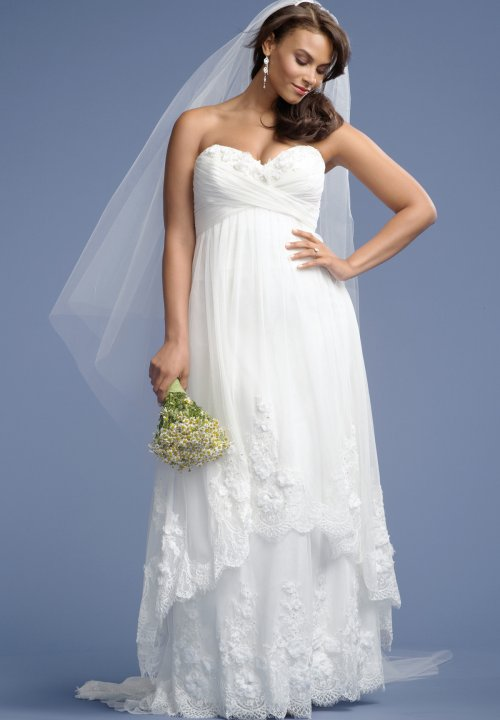 stunning strapless plus size summer wedding dress with cascading overskirt wtoo