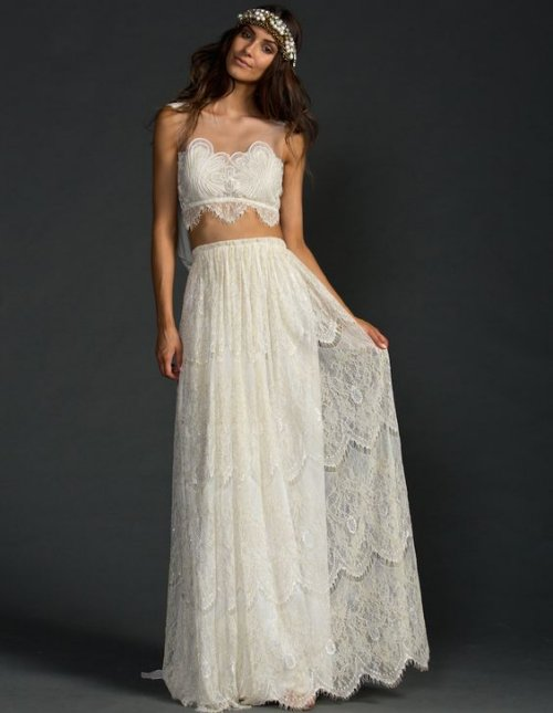 stunning two piece lace summer wedding dress