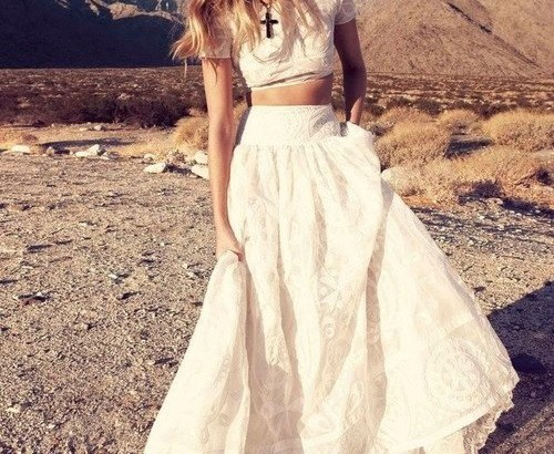 stunning two piece summer wedding dress short sleeves