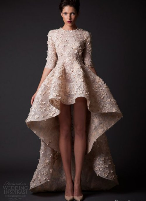three quarter sleeve high low summer wedding dress with floral applique  Krikor Jabotian