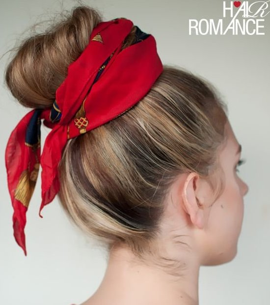 top bun knotted scarf easy summer hairstyle