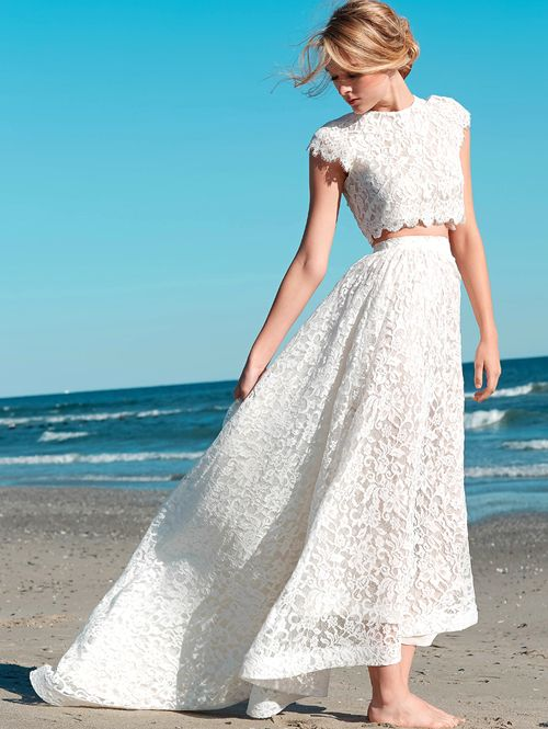 two piece high low lace beach summer wedding dress