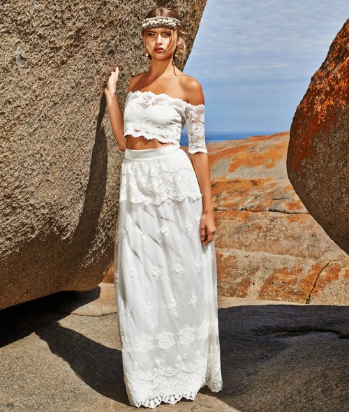 two piece off the shoulder summer wedding dress