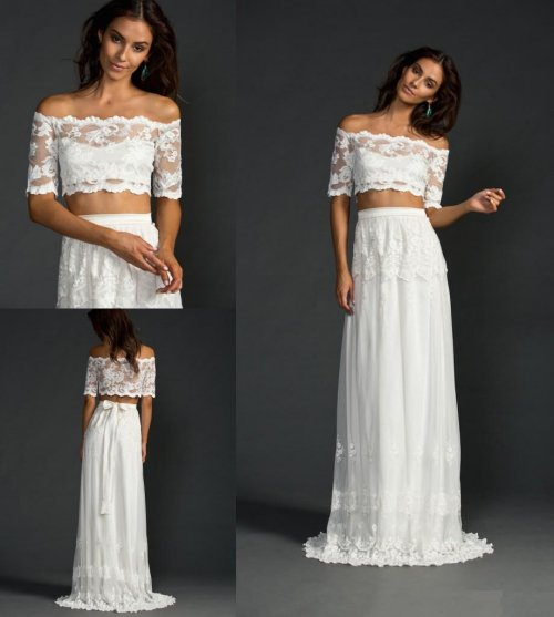two piece off the shoulder summer wedding dress2