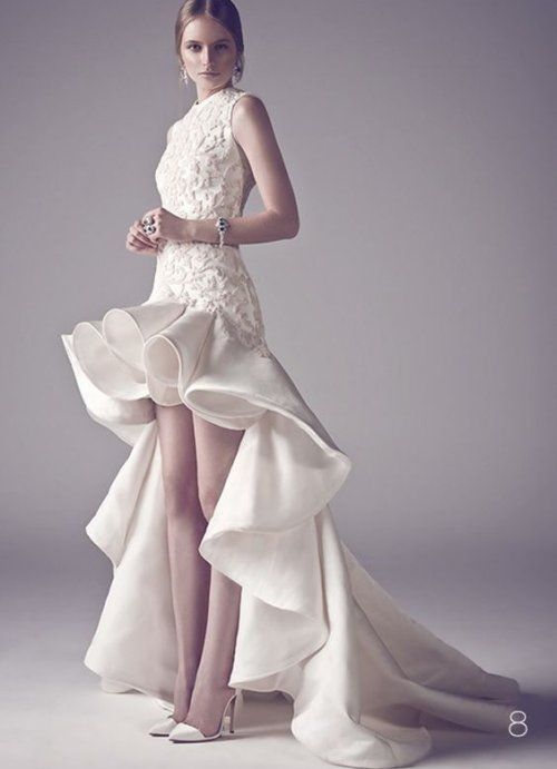uniqe high low summer wedding dress with ruffles Ashi Studio
