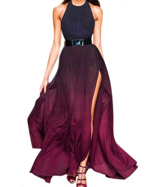 black purple halter sexy long summer cocktail dress