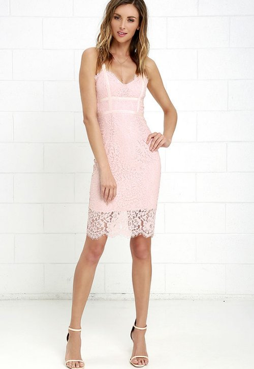 cute blush pink lace midi cocktail summer dress lulus