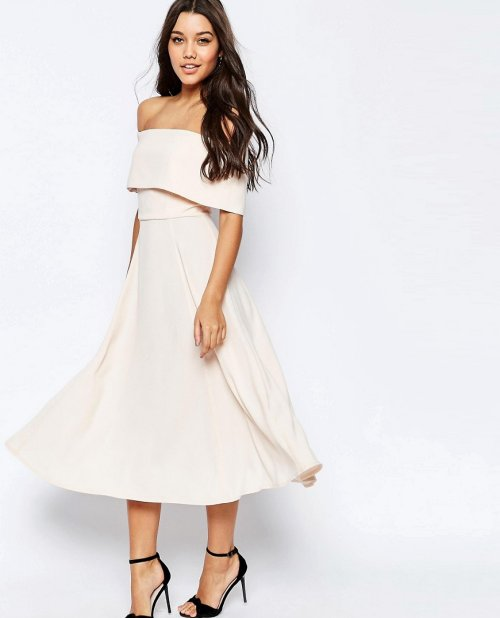 cute off the shoulder nude midi cocktail summer dress Asos