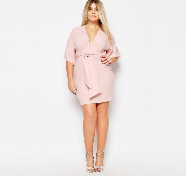 cute plus size blush kimono wrap summer dress sleeves V-neck Boohoo