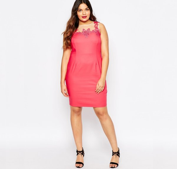 cute plus size coral summer dress lace applique asos